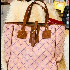 NWT DOONEY AND BURKE PINK/BLUE TOTE